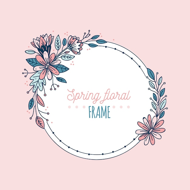 Handgetekende lente bloeiende bloemen frame Gratis Vector