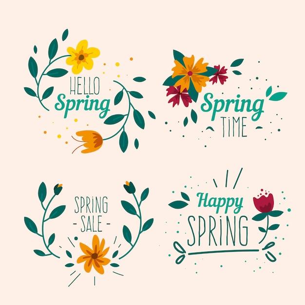 Handgetekende lente label collectie Gratis Vector