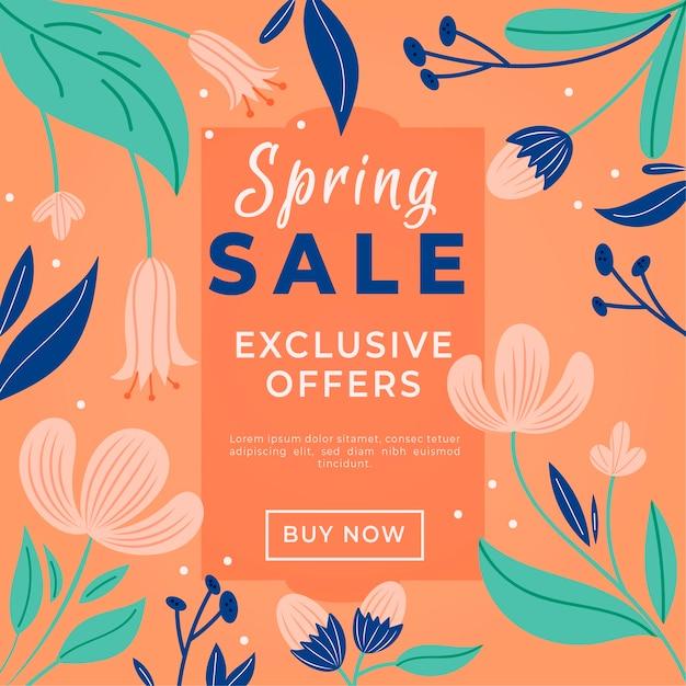 Handgetekende lente promotionele verkoop concept Gratis Vector