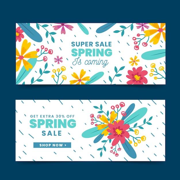 Handgetekende lente verkoop banner collectie Gratis Vector
