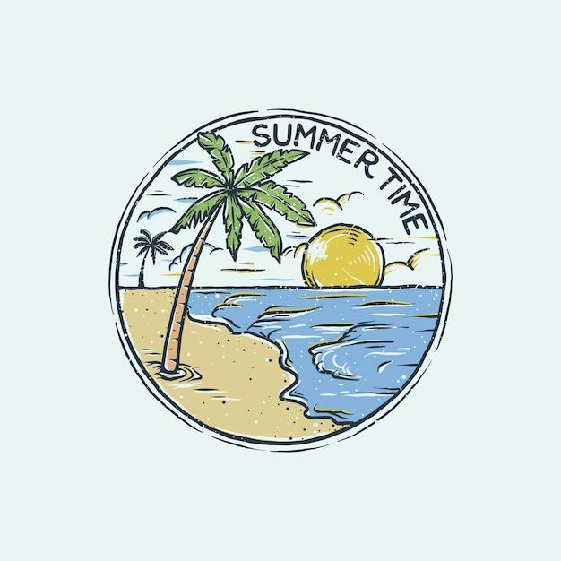 Handgetekende logo vintage strand Premium Vector