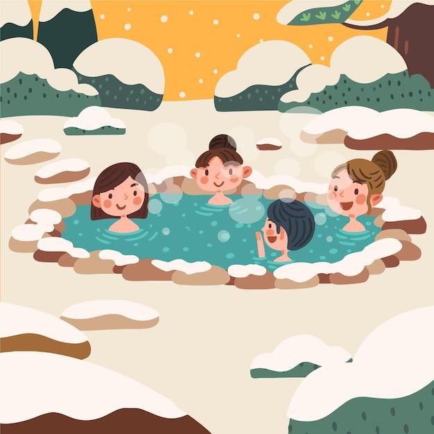 Handgetekende mensen die een bad nemen in onsen Gratis Vector