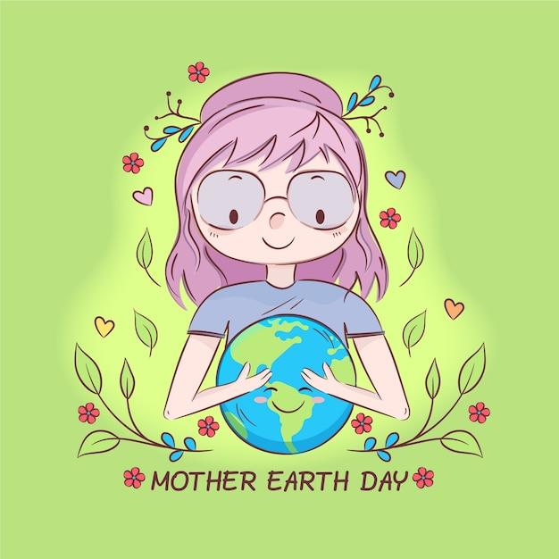 Handgetekende moeder aarde dag evenemententhema Gratis Vector