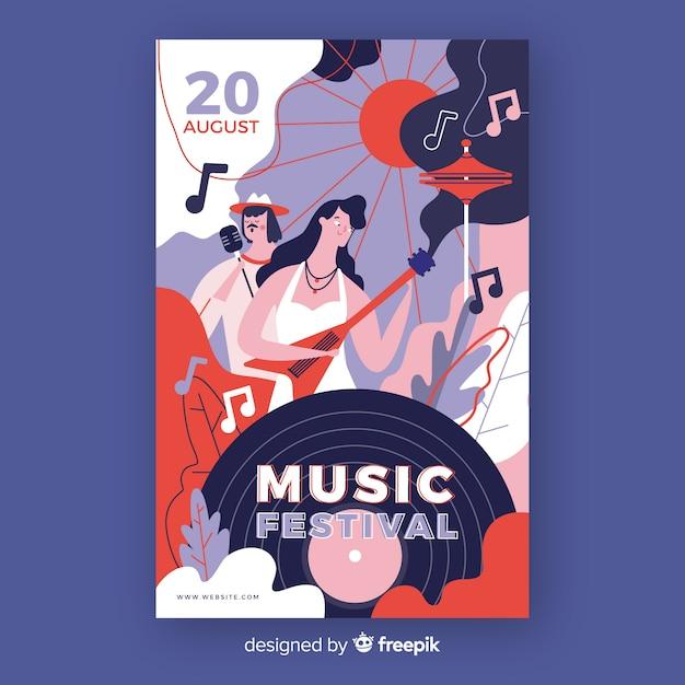 Handgetekende muziek festival poster met record Gratis Vector
