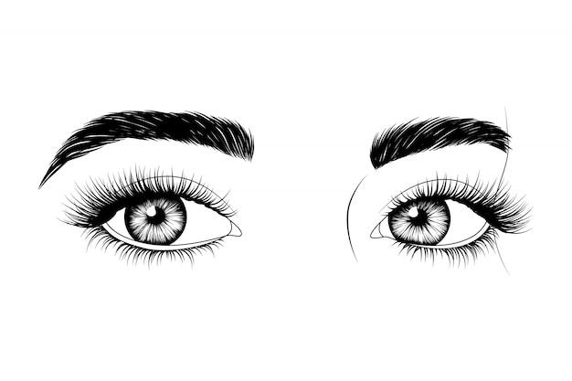 Handgetekende ogen Premium Vector
