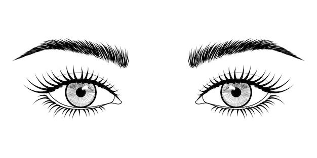 Handgetekende ogen. Premium Vector