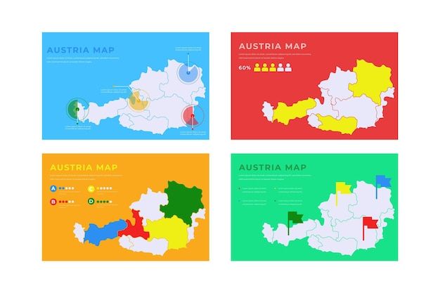 Handgetekende oostenrijk kaart infographic Gratis Vector
