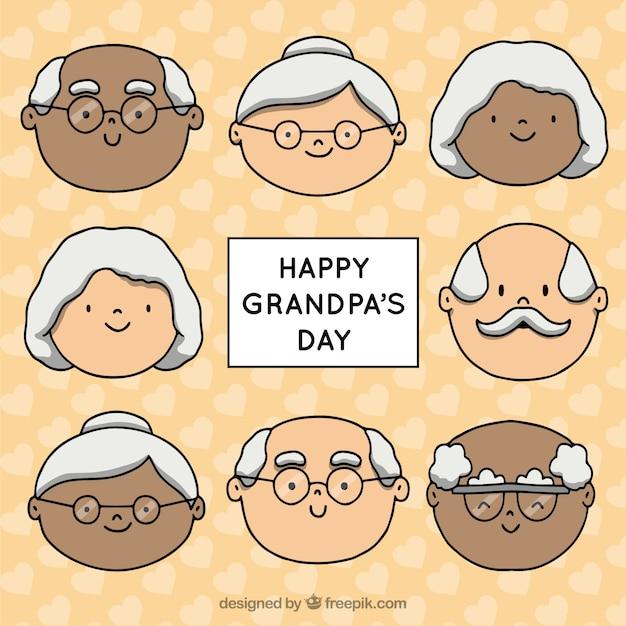 Handgetekende opa viert grootoudersdag Gratis Vector
