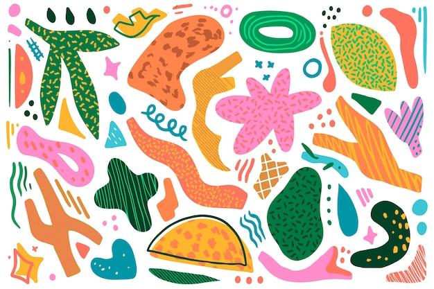 Handgetekende organische vormen thema voor achtergrond Gratis Vector