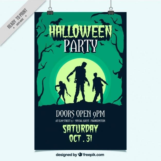 Handgetekende party poster voor halloween Premium Vector