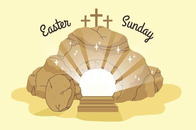 Handgetekende pasen-zondag illustratie met kruisen Gratis Vector