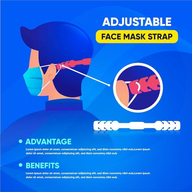 Handgetekende persoon die een verstelbare medische maskerriem draagt Gratis Vector