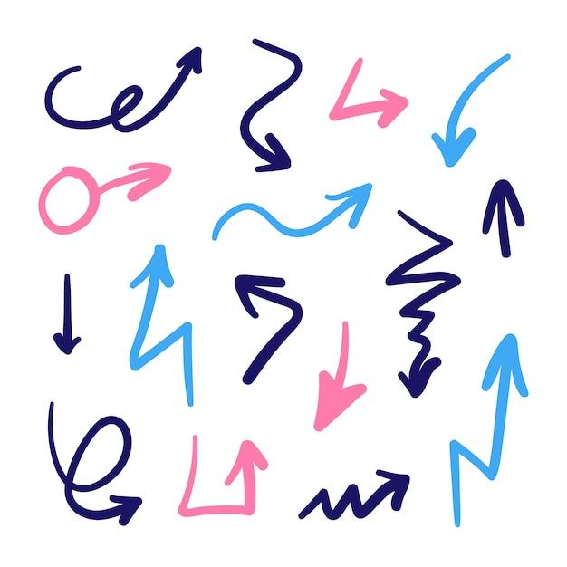 Handgetekende pijlen collectie Gratis Vector
