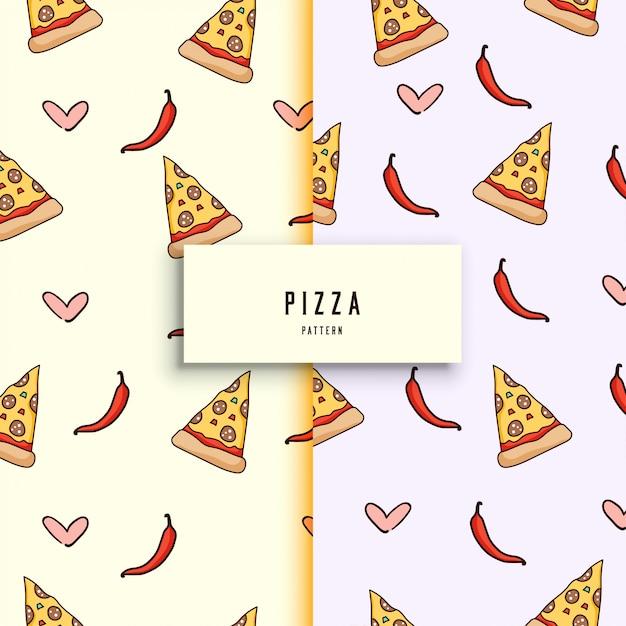 Handgetekende pizza patroon. Premium Vector