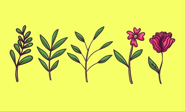 Handgetekende plant en bloem Premium Vector
