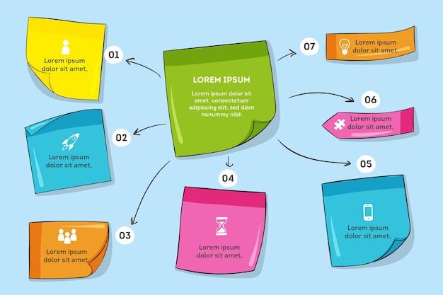 Handgetekende post-its boards infographics Gratis Vector