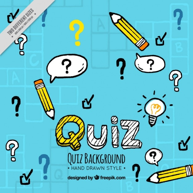 Handgetekende quiz achtergrond Gratis Vector