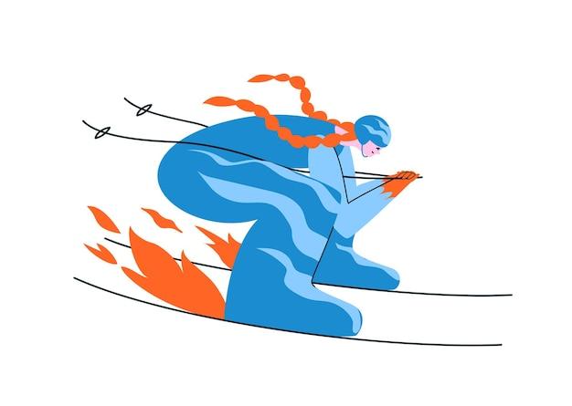 Handgetekende roodharige meisjesskiër in een blauw pak. een vrouw ski's in een aerodynamische houding op volle snelheid. Premium Vector