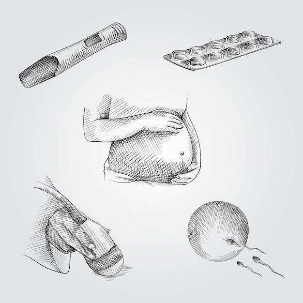 Handgetekende schets set zwangerschap attributen. set bevat zwangerschapstest, pillen, zwangere vrouw die haar buik vasthoudt, echografie-scanner in de hand, ei en sperma Premium Vector