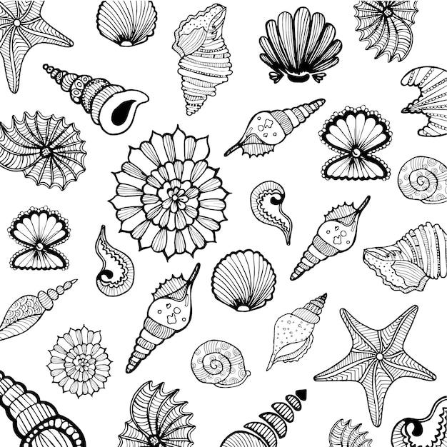 Handgetekende shells collection Gratis Vector