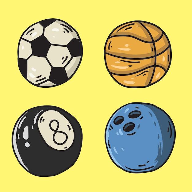 Handgetekende sportballen Premium Vector