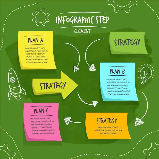 Handgetekende sticky notes boards infographics Gratis Vector