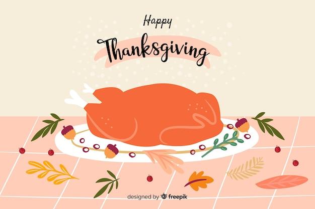 Handgetekende thanksgiving achtergrond Gratis Vector