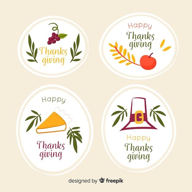 Handgetekende thanksgiving label concept Gratis Vector