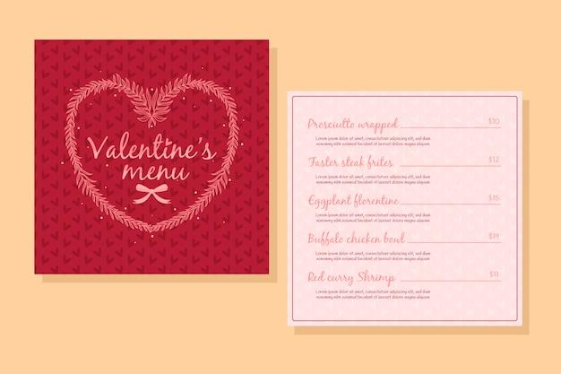 Handgetekende valentijnsdag menu sjabloon concept Gratis Vector