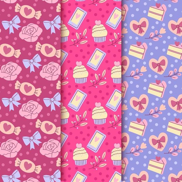 Handgetekende valentijnsdag patroon set Gratis Vector