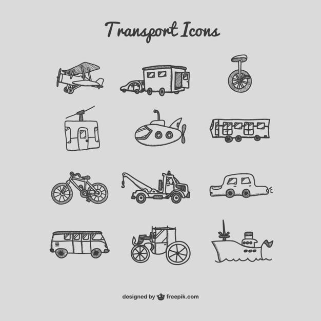 Handgetekende vervoerpictogrammen Gratis Vector