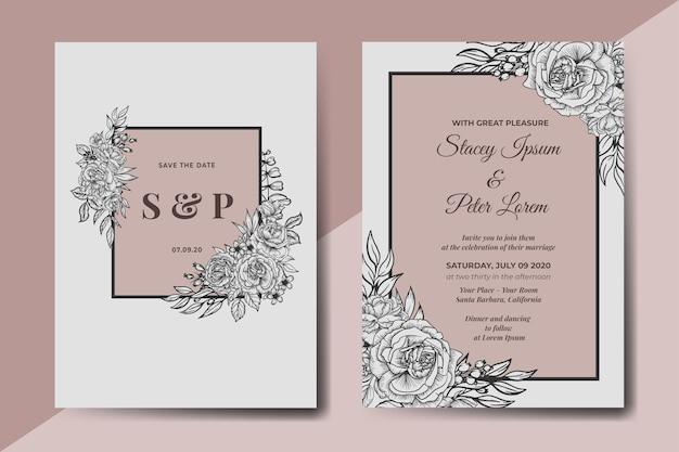 Handgetekende vintage bloemen bruiloft uitnodigingskaart Gratis Vector