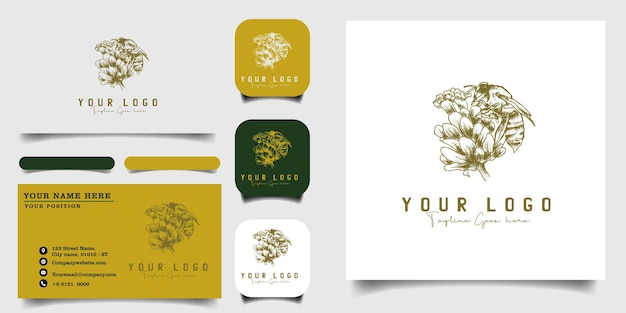 Handgetekende vintage logo sjabloon en visitekaartje Premium Vector