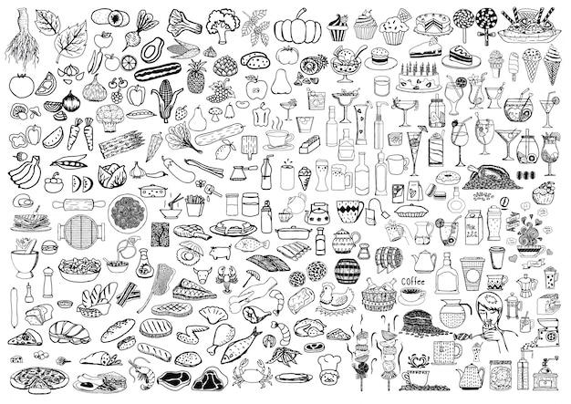 Handgetekende voedingselementen Gratis Vector