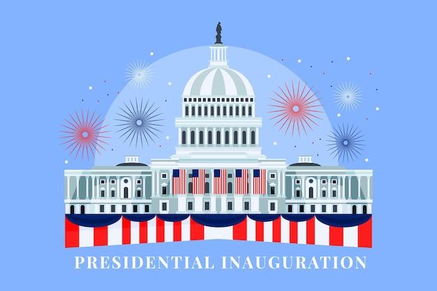 Handgetekende vs presidentiële inauguratie illustratie met wit huis en vuurwerk Premium Vector