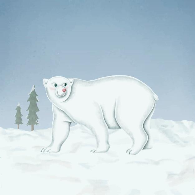 Handgetekende wandelende witte ijsbeer Gratis Vector