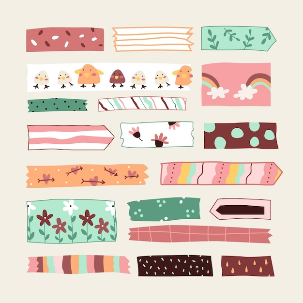 Handgetekende washi-tape-collectie Gratis Vector