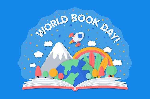 Handgetekende wereld boekdag Gratis Vector