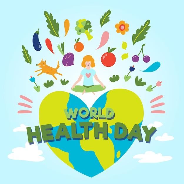 Handgetekende wereld gezondheid dag concept Gratis Vector