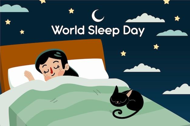 Handgetekende wereld slaap dag illustratie met slapende vrouw en kat Gratis Vector