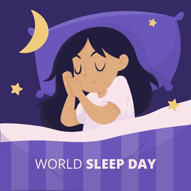 Handgetekende wereld slaap dag illustratie met vrouw Gratis Vector
