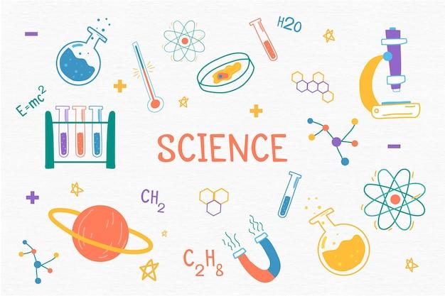 Handgetekende wetenschap achtergrondthema Gratis Vector