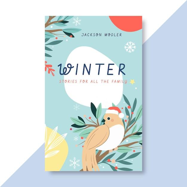 Handgetekende winter boek voorbladsjabloon Gratis Vector