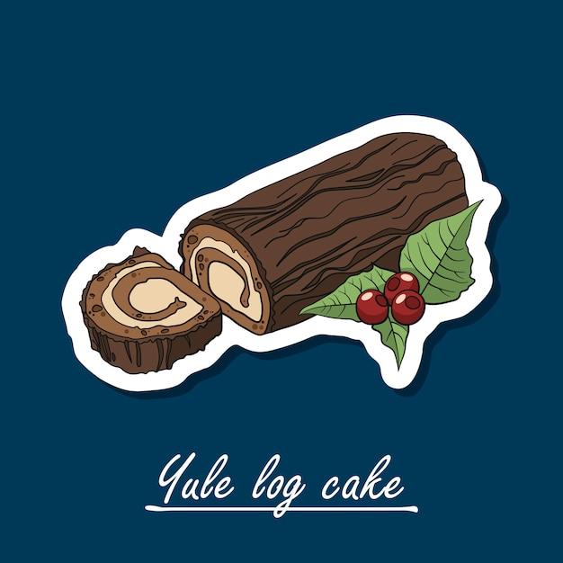 Handgetekende yule logo cake. kleurrijke illustratie van het dessert. Premium Vector