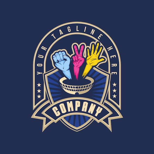 Handgevecht arena badge logo Premium Vector