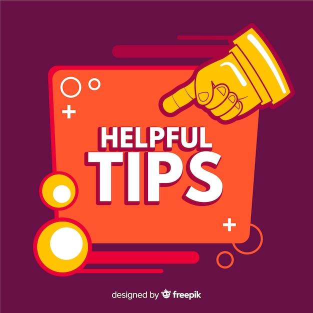 Handige tips achtergrond met wijzende vinger Gratis Vector