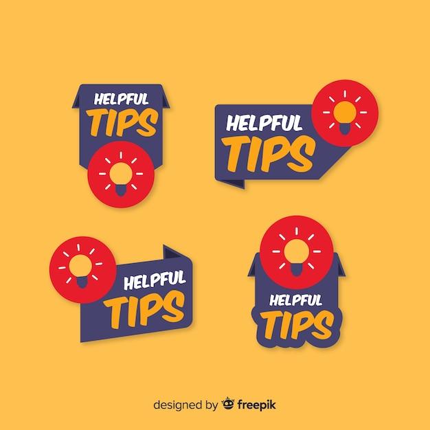 Handige tips banners collectie met gloeilampen Gratis Vector