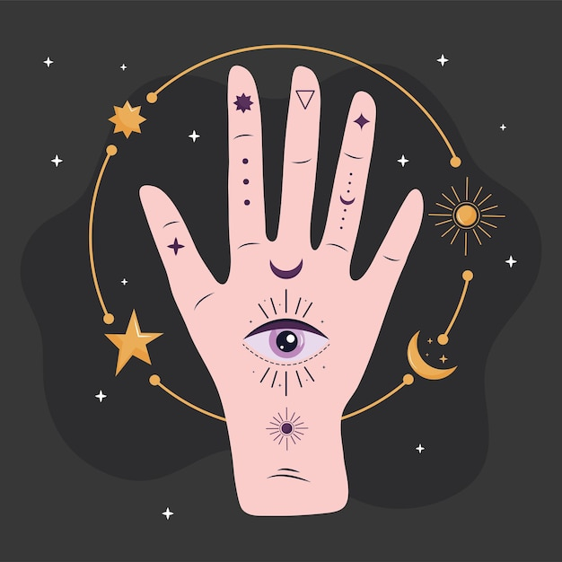 Handmens met oog esoterisch en gouden sterren en maanillustratieontwerp Premium Vector