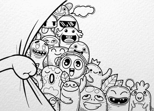 Handopening gordijn met grappige monster groep achter Premium Vector