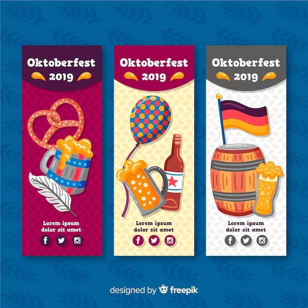 Handr getekend oktoberfest banners sjabloon Gratis Vector